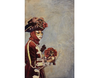 Painting of elaborately dressed masked person at Carnival in Venice, Italy.  Watercolor print Venice Italy Carnivale fine art poster decor