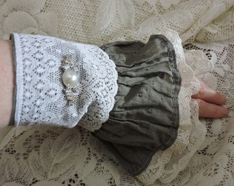 Recycled skirt, hand cuff,lace,shabby chic...