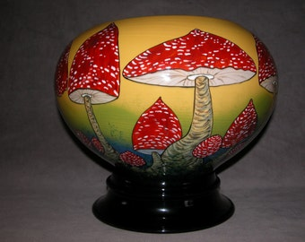 NEW FAIRY RING Ex Large Hand Painted  Fry Agaric Toadstool Jardiniere