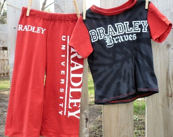 Bradley University The Braves Children's Upcycled/recycled Pajama/Lounge pants 4T