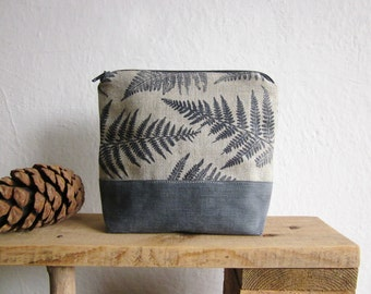 Linen cosmetics pouch, Handprinted ferns, Blue ferns stamp, make-up organizer