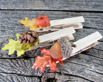 Autumn Fall Place-Card Holder, Decorated Wooden Clothespins, Wedding Place-Card Holder, Fall Autumn Wedding Favors Decor, Thanksgiving Decor