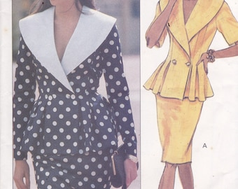 Butterick 3364 Vintage Pattern Womens Fitted and Flared Top with Slim Skirt Size 6,8,10