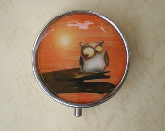 Owl pill box, Pill case,  Pill container, Jewelry box, Mint case, Pills, Owl