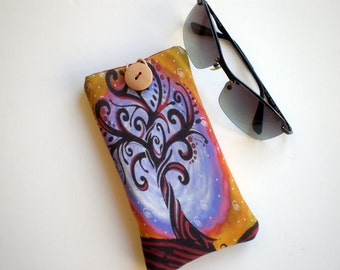 Sunglasses case, eyeglasses case, Soft eyeglass case, Case for sunglasses, Quilted eyeglass case, Tree of life