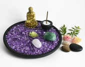 Zen Garden // Buddha Statue // Gem Garden // Incense Burner //  Feng Shui // Desk Accessory // Meditation // Gemstone // Housewarming Gift