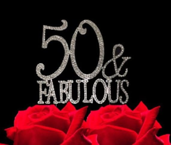 Fabulous 50 Cake Topper: 50 And Fabulous Crystal Cake Toppers Real Rhinestone By