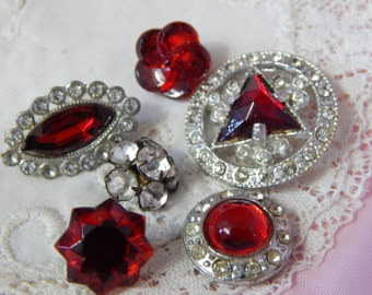 Paste Stones and Red Glass Buttons - 6