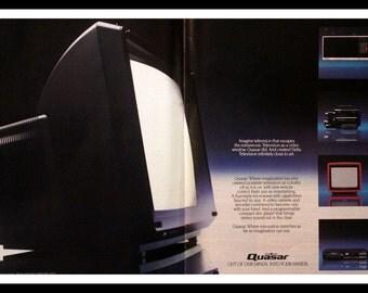 1985 Quasar Delta Television Ad - 80s Technology - TV -  Wall Art - Home Decor - Retro Vintage Electronics Advertising