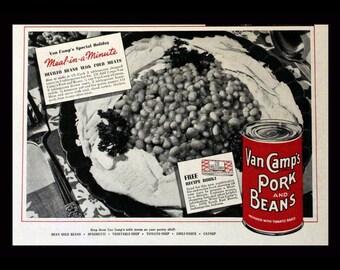 1937 Van Camp's Pork & Beans Ad - Wall Art - Decor - Kitchen - Retro Vintage Food Advertising