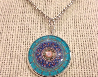"20"" Teal Moroccan Glass Pendant Necklace"