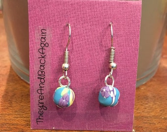 SkyBlue with Purple&Yellow Flowers Clay Bead Earrings