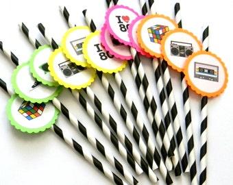 12 Neon 80s Party Straws, 80s Theme, Throwback Straws, Boombox, Neon Birthday, 80s Party, Sunglasses, Stripe Paper Straws, Party Decor