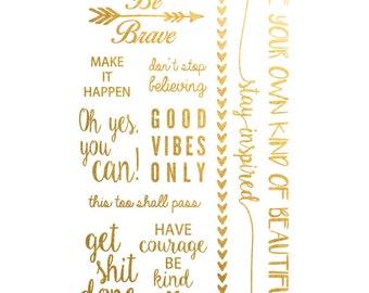 Words of wisdom Metallic Temporary Tattoo, Gold Temporary Tattoo, Inspirational Print Vibes Motivation Tattoo