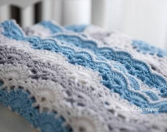 Baby Blanket  Crochet Afghan Christening Baptism Baby Boy Girl Crochet Blanket Baby Granny Square Blanket Gift for baby Baby shower gift