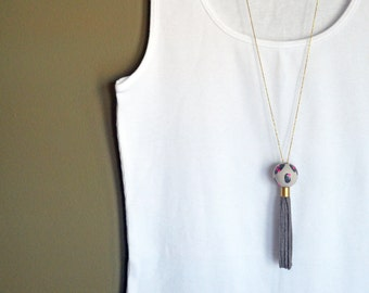 Gray and Pink Hand-Painted Wood Bead and Suede Tassel Necklace