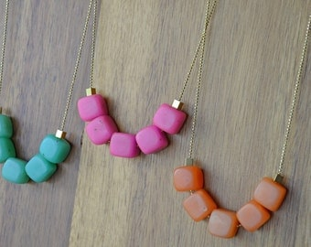 Polymer Clay Square Bead Necklace