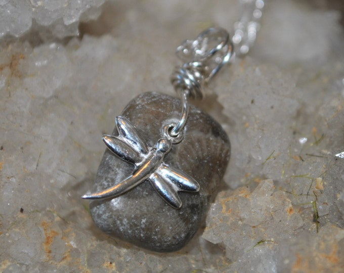 Petoskey Stone necklace with sterling dragonfly charm,  , Michigan necklace, Up North