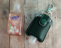 Small Hand Sanitizer Holder, Dark Green Vinyl with Snap, Great for Backpacks, Bags & Purses, Quick Ship, Choose from 24 Colors, Made in USA