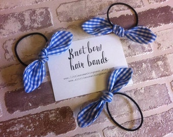 blue gingham school knot bow hair band, Hair accessories