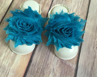 Blue Barefoot Baby Sandals, Chevron Straps, Chiffon Flowers