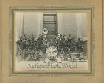 Holyoke MA music band with xylophone antique photo