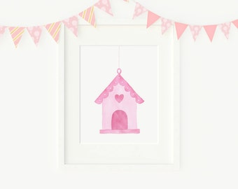 Original watercolor painting of a birdhouse, nursery art, NOT A PRINT!