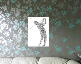 Golfer - Personalised Sportsman. 3 Variations and 2 sizes. Word Art Print. FREE UK P&P. Birthday, Special Occasion. Sports
