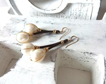 Fresh  Water Pearls Leather Earrings , Gold Filled Earrings.