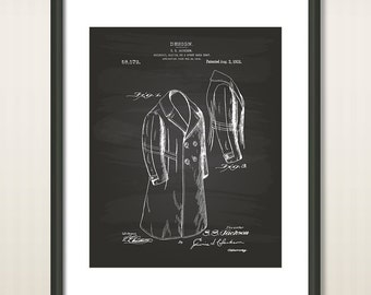 Overcoat 1921 Patent Art Illustration - Drawing - Printable INSTANT DOWNLOAD - Get 5 Colors Background