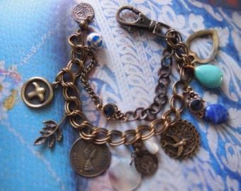 Brass Bracelet, Dubble Brass Bracelet with charms and gems, ajustable in size