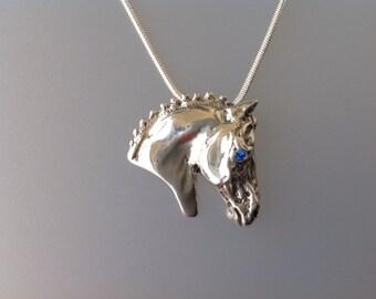 Dressage horse Sterling Silver slide pendant  free chain Equestrian  Jewelry.  Stone eye.  Zimmer design