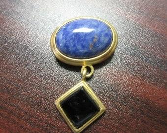 Blue Marble Pin Brooch Signed GJD