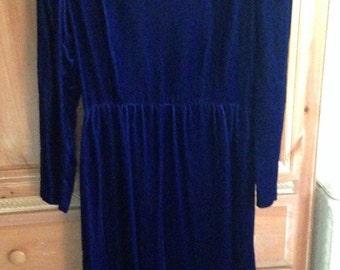 Lanz Blue Velvet Evening Dress with Detachable Lace Collar