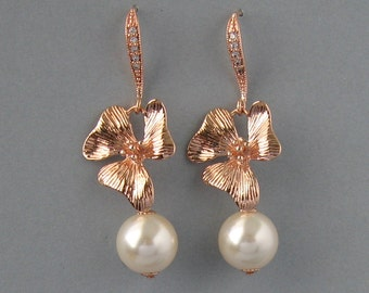 Genuine Swarovski, Cream Pearl Earrings, Swarovski Pearls, Rose Gold Plated, Orchid Earrings,Zircon,Flower Earrings,  Bridesmaid Gift -DK183