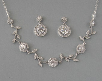 Cubic Zirconia, Rhodium Plated Over Brass, Necklace & Earrings - Set,Bridal Set, Crystal Necklace, Crystal Earrings, Bridesmaid Gift - DK585