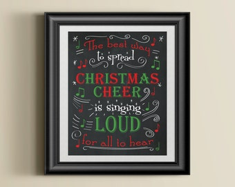 Buddy the Elf Christmas Cheer Singing Quote Poster Instant Download Digital File