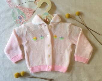 SALE. Baby girl pink and pastel cardigan. Embroidered flower cardigan cardi. Size 000 - 3 months. Made in Japan.