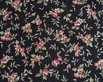 Black Floral Fabric By The Yard