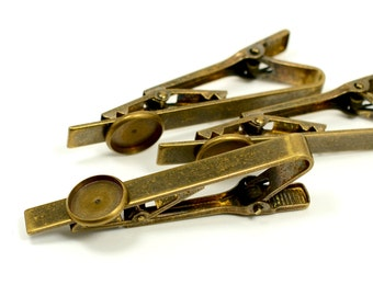 10 Pcs. Antique Brass Tie Clips 10 mm Blanks Bezel Settings High Quality