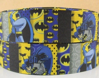 By the Yard Printed BATMAN 1 Inch Grosgrain Ribbon Great for Lanyards Hair Bows Crafts Sewing Scrapbooking Lisa