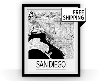 San Diego Map Poster - usa Map Print - Art Deco Series