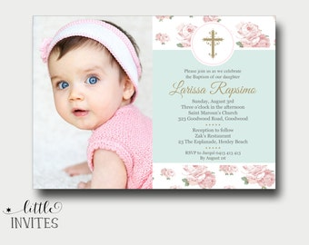 Digital invitation whatsapp invitation baptism and birthday shabby chic floral girls baptism invitationbaptism photo invitationprintablegirls baptism stopboris