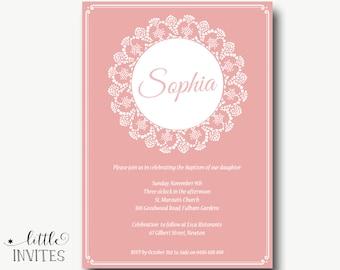 Girls Baptism Invitation/Vintage Girls baptism invitation/DIY printable/girl christening invitation/Girls Baptism/First Birthday-Sophia