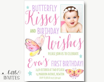 Butterfly birthday invitation/Birthday invitation butterflies/Girls birthday invitation/watercolor/1st/2nd/3rd/4th/5th/6th birthday-Eva