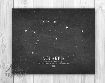 AQUARIUS Constellation Art Print, Zodiac Chalkboard Art, Aquarius Astrology Print, Aquarius Wall Art Print - Zodiac Home Decor