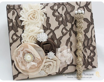 READY TO SHIP Wedding Lace Guest Book Pen Set Custom Bridal Flower Brooch Guest Books in Dark Chocolate Brown, Champagne and Ivory