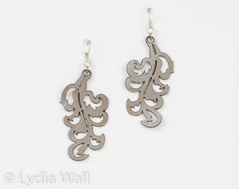 """Laser Cut Leather Earrings """"Victorian Leaf"""" design in Pewter and Turquoise"""