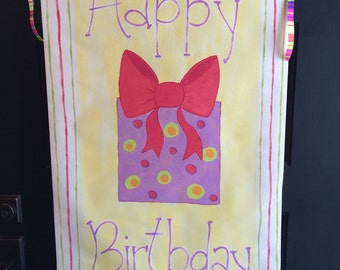 Personalized birthday banner, hand painted canvas-reusable year after year