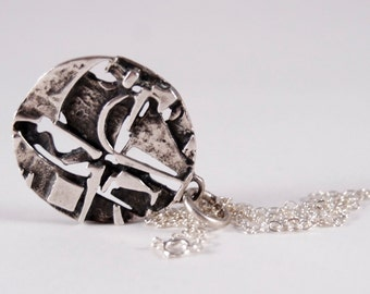 Jorma Laine Necklace - Deconstructed - Sterling Silver - Modernist Brutalist - Finland Scandinavian - Signed - 1970